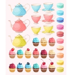 Tea party set vector image