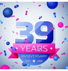 Thirty nine years anniversary celebration on grey vector