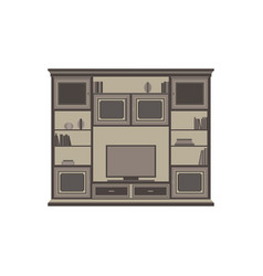 Tv unit flat icon isolated front view cabinet vector