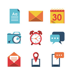 white background with application office icons vector image