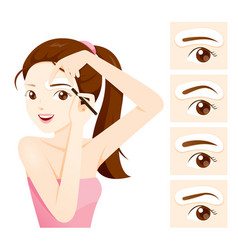 Woman drawing her brow by eyebrow stencils vector