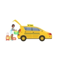 Woman Putting Her Luggage In The Trunk Of Yellow vector image