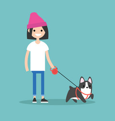 Young smiling girl walking the dog flat editable vector