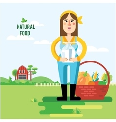 Farmer and vegetables vector
