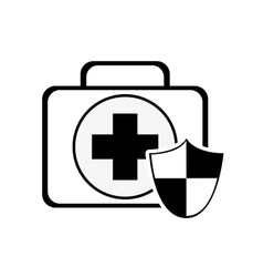 First aid kit and shield icon vector
