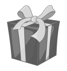 Christmas box with bow icon monochrome style vector