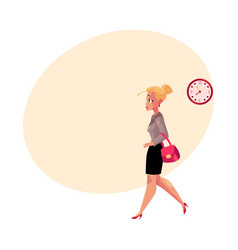 Young blond businesswoman hurrying being late to vector