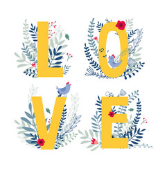 Floral word love vector