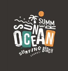 summer t-shirt print template on dark background vector image