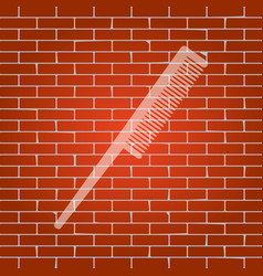 Comb sign  whitish icon on brick wall as vector