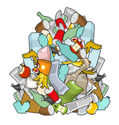 Pile rubbish garbage heap isolated stack trash vector