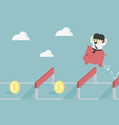 Businessman jumping over hurdle to financial succe vector