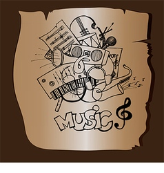 Doodle music on a brown background vector