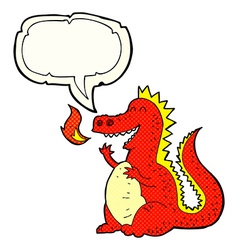 Cartoon fire breathing dragon with speech bubble vector