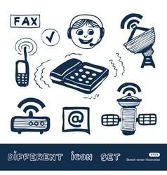 Communication and social network web icons set vector image