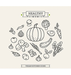 Healthy vegetable icon set vector