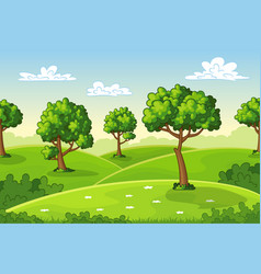 a summer landscape with trees vector image