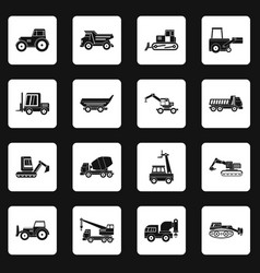 Building vehicles icons set squares vector