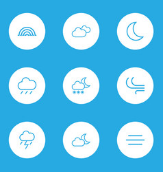 Climate outlines set collection of breeze moon vector