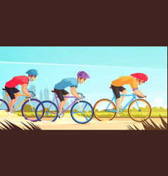 Cycle competitive racing cartoon vector