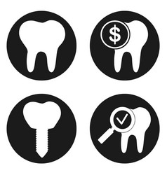 Dental treatment icons set in circle button vector