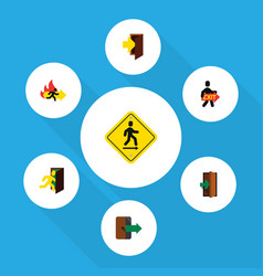 flat icon exit set of exit directional open door vector image