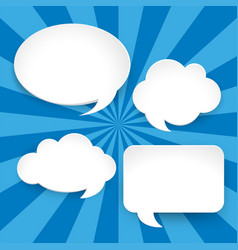 Four blank speech bubbles on blue background vector