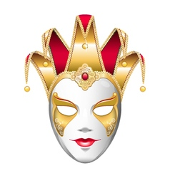 Gold joker mask vector