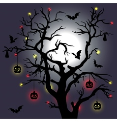Halloween tree with bats and moon vector