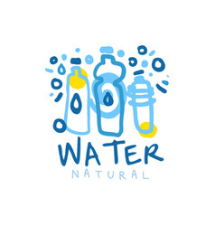 hand drawn logo with blue bottles of mineral water vector image
