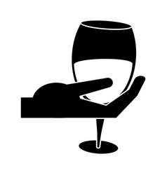 hand holding glass cup wine pictogram vector image