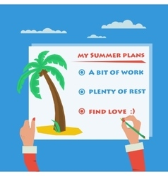 Hands doing sign about summer plans vector image