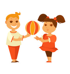 Happy children girl or boy playing ball outdoor vector