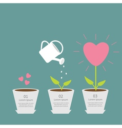 Heart seed watering can love plant growth concept vector