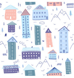 Houses in mountains seamless pattern vector