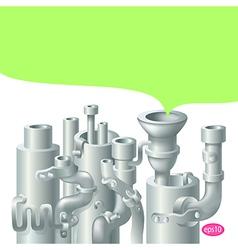 Industrial metal pipe stack design vector