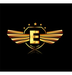 Letter e winged crests logo alphabet logotype vector