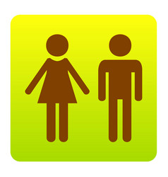 Male and female sign brown icon at green vector