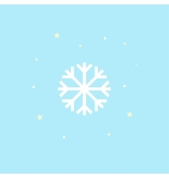 Snowflake Icon Winter symbol on blue background vector image vector image