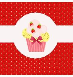 Strawberry cake on strawberry background vector image
