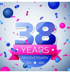 Thirty eight years anniversary celebration on grey vector