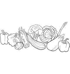 vegetables group for coloring book vector image vector image