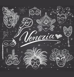 venice italy sketch carnival venetian masks hand vector image