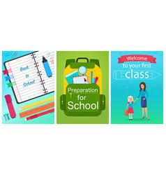 welcome back to school concept template school vector image vector image