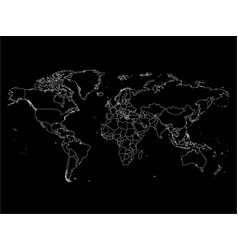 world map with country borders thin white outline vector image vector image