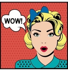 WOW pop art surprised woman vector image