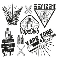 Set of vape shop labels in vintage style vector