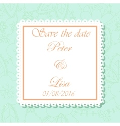 Wedding invitation flowers background mint and vector image
