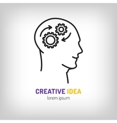 Logo marketing business brainstorm brainwave vector
