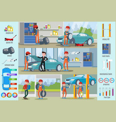 Car repair service infographic concept vector
